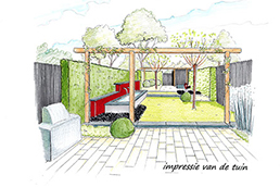 tuinontwerper Nuenen zijaanzicht tuin